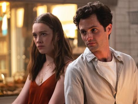 Victoria Pedretti and Penn Badgley star in YOU Season 2.