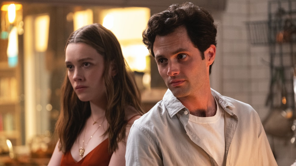 Victoria Pedretti and Penn Badgley star in YOU Season 2.