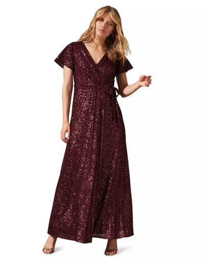 Phase Eight - Red Amily Sequin Wrap Dress