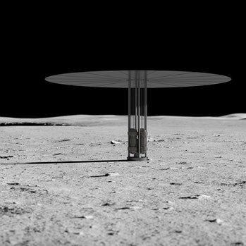 An artist's rendering of Kilopower fission reactors on the lunar surface.