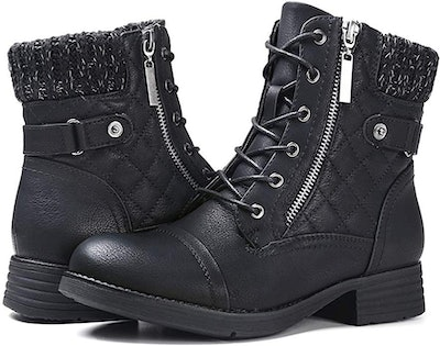 STQ Women's Combat Boots Lace up Ankle Booties