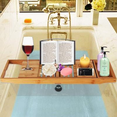 Luxury Bamboo Bathtub Caddy Tray
