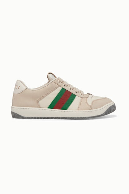 Screener Canvas-trimmed Leather Sneakers