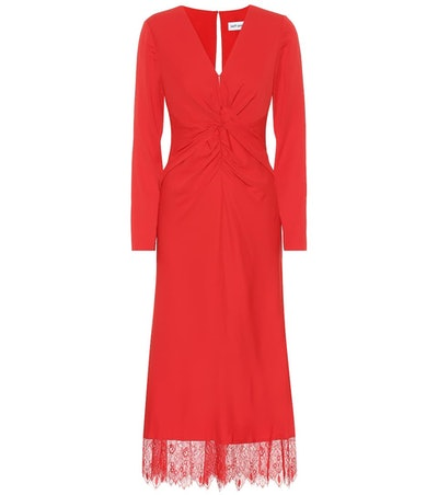 Lace-Trimmed Crêpe Midi Dress