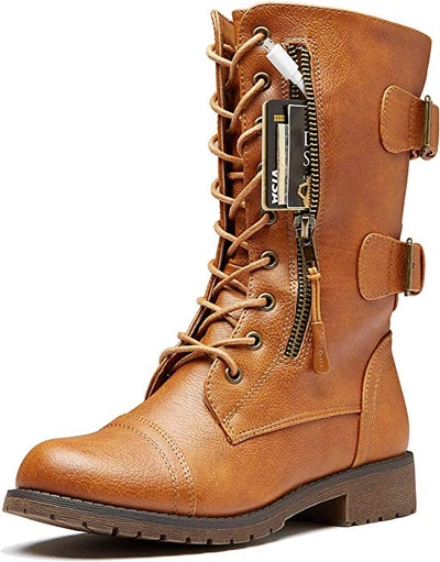 DailyShoes Women's  High Lace up Military Combat Boots
