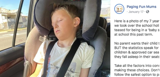 A mom on Facebook is speaking out on keeping her 7-year-old son in a car seat.