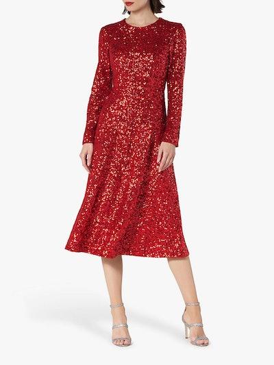 L.K.Bennett Lazia Sequin Midi Dress, Red
