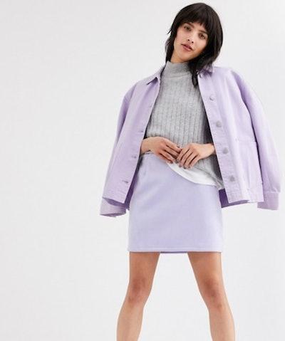 Weekday Kathy Mini Skirt in Lilac
