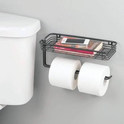 mDesign Toilet Paper Holder And Tray