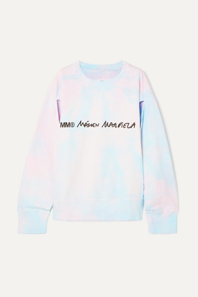 Cutout Printed Tie-dyed Cotton-jersey Sweatshirt