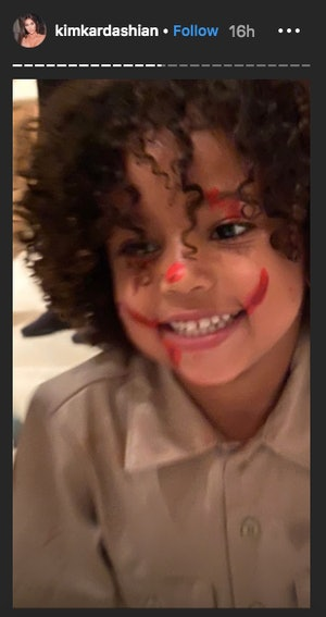 North West It Clown makeup was applied on herself and her siblings.