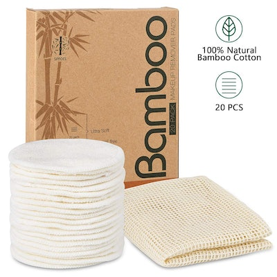 Spaces Organic Bamboo Reusable Makeup Remover Pads (20-Pack)