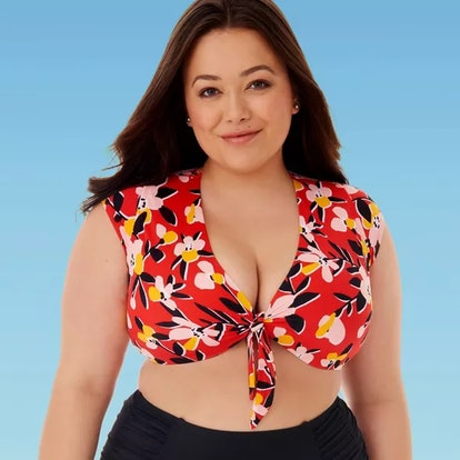 Miracle Brand's Beach Betty Women's Plus Size Slimming Control Tie Front Bikini Top