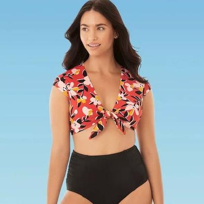 Miracle Brand's Beach Betty Women's Slimming Control Tie Front Bikini Top