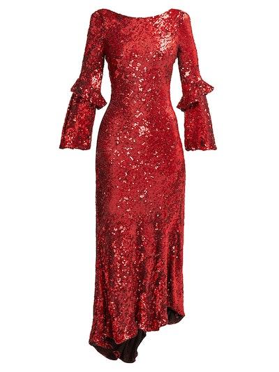 Polina Asymmetric Sequined Dress