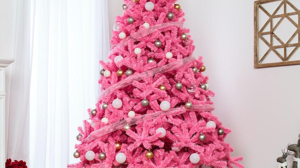 a pink valentine's day tree at walmart
