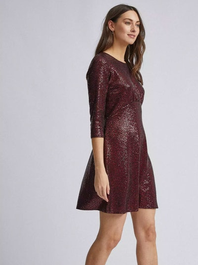 Dorothy Perkins - Red Sequin Empire Fit and Flare Dress