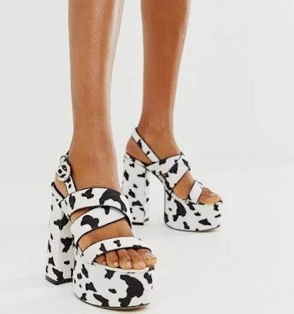 Lamoda Cow Print Platform Sandals