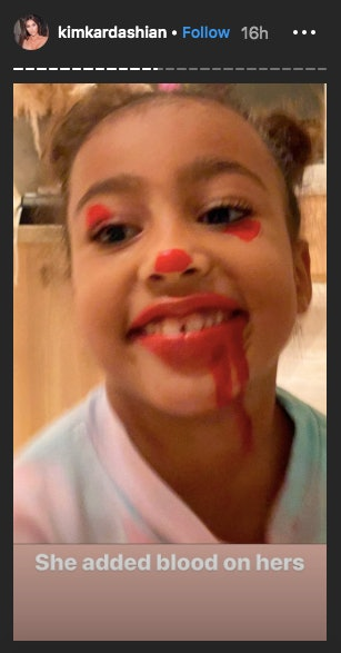 North West It Clown Makeup up came complete with blood.