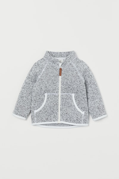 Knit Fleece Jacket in Light Grey Melange