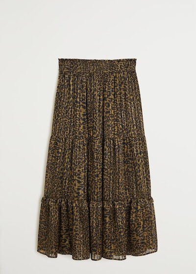 Metallic Thread Leopard-Print Skirt