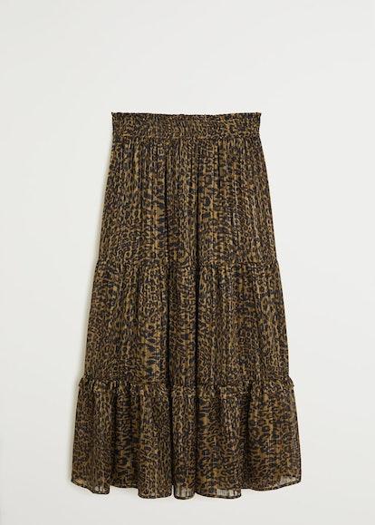 Metallic Thread Leopard-Print Skirt