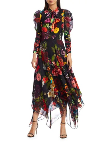 Karen Floral Puff Sleeve Handkerchief Midi Dress