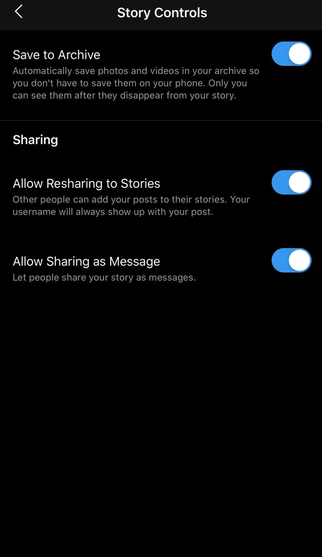 You can access your Story Controls within the Settings option for your Archive.