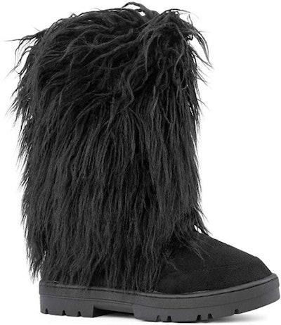 RF ROOM OF FASHION Vegan Faux Fur Mid-Calf Slip-On Boots