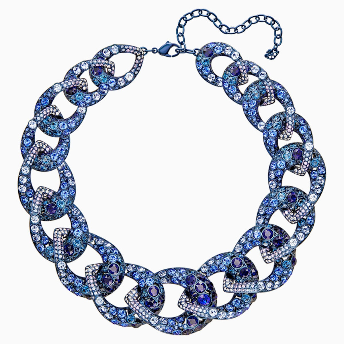 TABLOID NECKLACE, MULTI-COLORED, BLUE PVD COATING