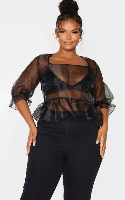 PrettyLittleThing Plus Black Sheer Organza Puff Sleeved Crop Top