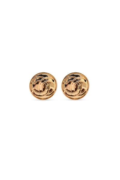 Small Vintage Circular CC Earrings