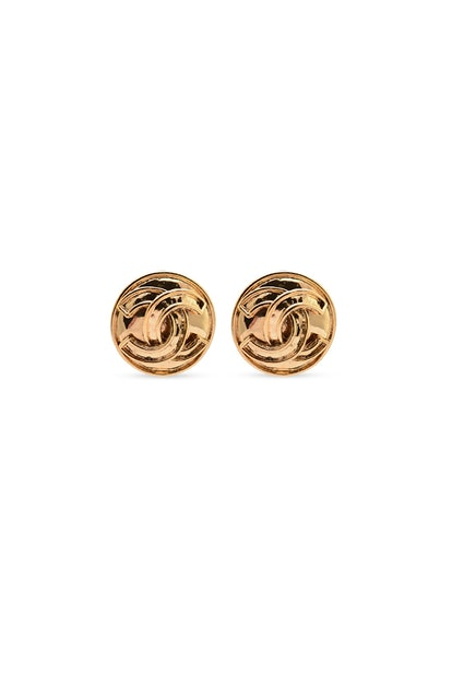 Small Vintage Circular CC Earrings