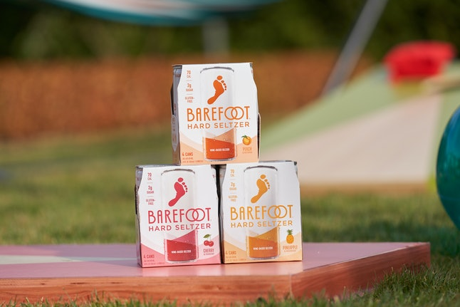Barefoot Wine's new hard seltzer comes in four flavors including cherry & cranberry and  pineapple & passionfruit.