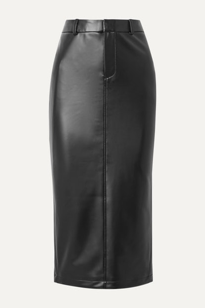 Faux Stretch-Leather Midi Skirt