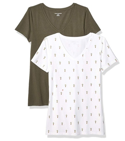 Amazon Essentials Women's Classic-Fit V-Neck T-Shirt (2-Pack)