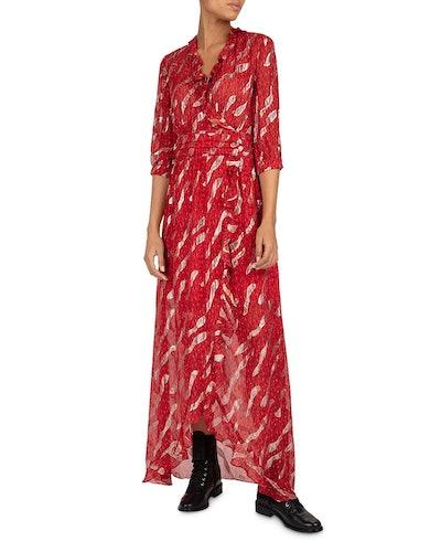 Hali Ruffled Metallic Maxi Dress In Rouge