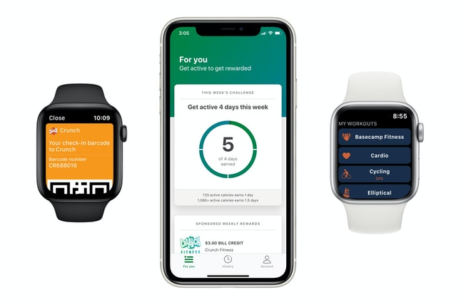 Screenshots of two Apple Watches and iPhone showing the new Apple Watch Connected program