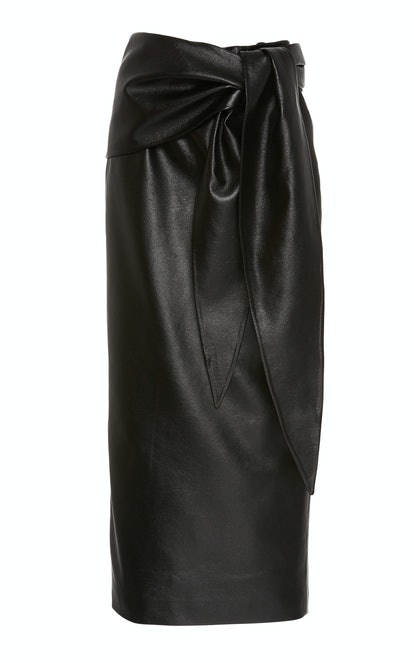 Faux Leather Knotted Pencil Skirt