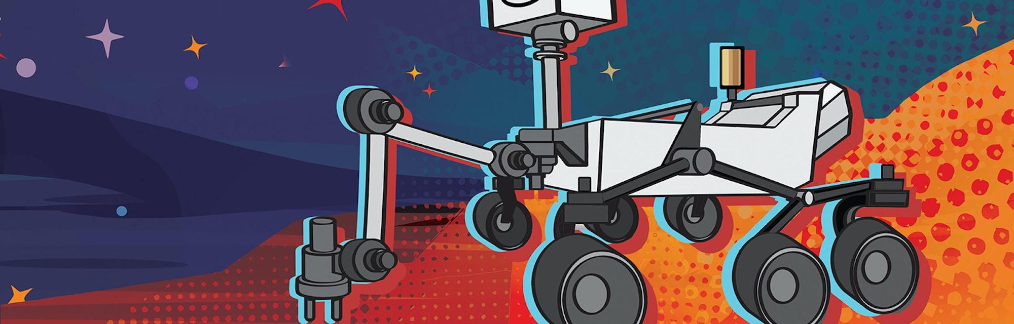 NASA Mars 2020 robot cartoon