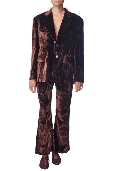 Burgundy Velour Jacket and Pant