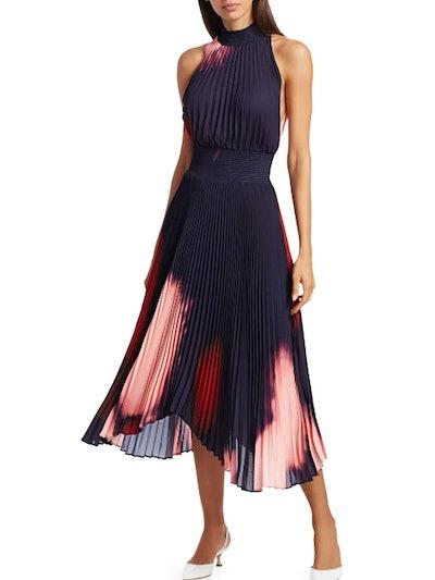 Midnight Multi Renzo Tie Dye Pleated Halter Dress