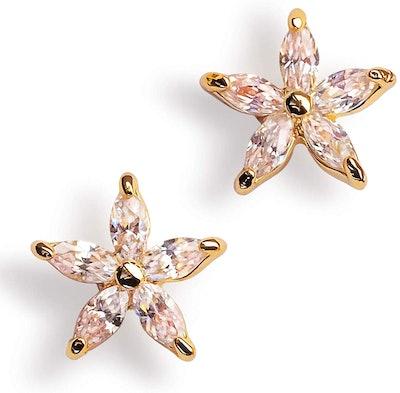 Benevolence 14-Karat Gold-Plated Stainless Steel Flower Stud Earrings