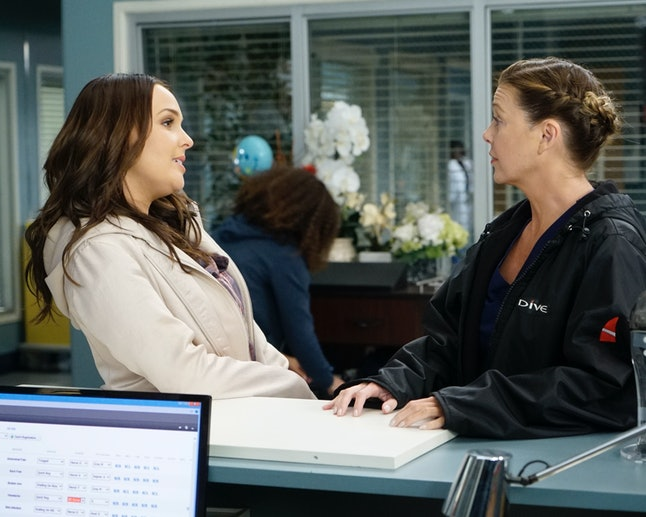 Jo (Camilla Luddington) explained to Meredith (Ellen Pompeo) that Alex is visiting his mom, in the 'Grey's Anatomy' winter premiere.