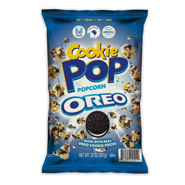 Sam's Club's new Oreo-flavored popcorn comes with drizzles of cookie creme.