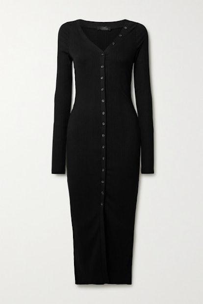 Division Ribbed-Knit Midi Dress