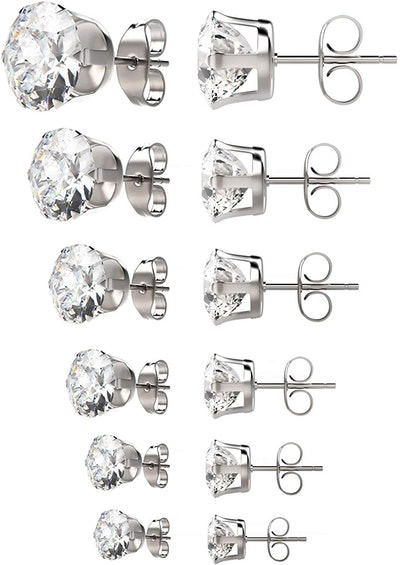 UHIBROS Women's Stainless Steel Hypoallergenic Stud Earrings (6 Pairs)