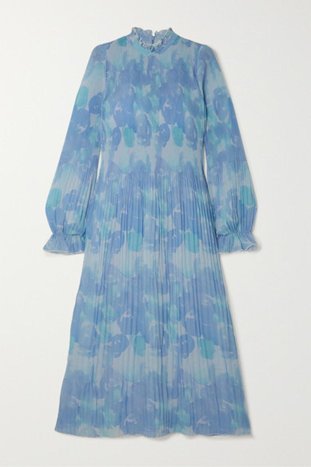 Ruffled Pleated Printed Georgette Midi Dress