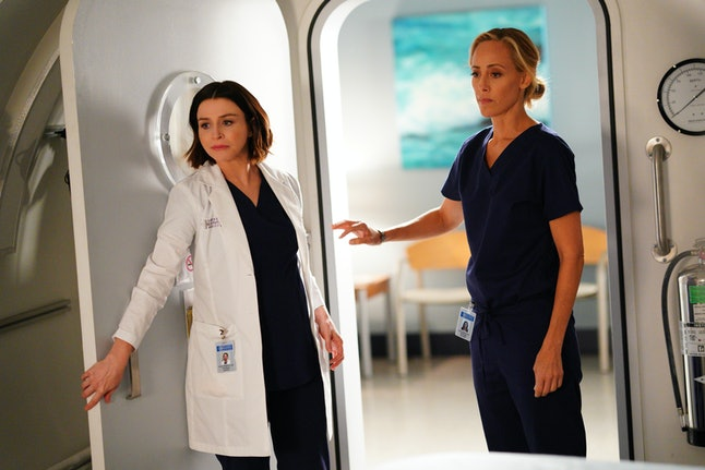 Amelia (Caterina Scorson) assured Teddy (Kim Raver) of how much Owen loves her in the 'Grey's Anatomy' winter premiere episode.