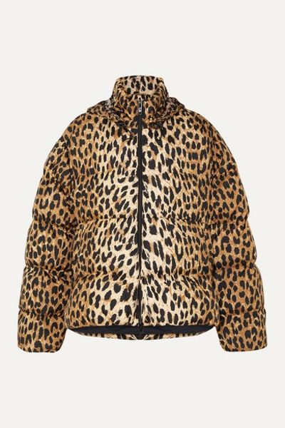 C-Shape Hooded Leopard-Print Quilted Shell Jacket